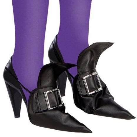 Shoe Covers Witch with Silver Buckle Halloween Wicked Villian Fancy Dress